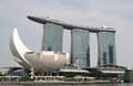 Singapore marina bay sands hotel with art science museum Royalty Free Stock Photos