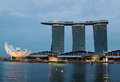 Singapore marina bay sands hotel with art science museum during sunset Stock Photo