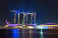 Singapore marina bay sands illuminated by night laser show sep on sep in it is billed as the world s most expensive Royalty Free Stock Photo
