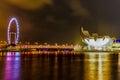 Singapore marina night view Immagine Stock Libera da Diritti