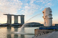 Singapore modern landmarks at dawn merlion and marina bay sands are the of Royalty Free Stock Images