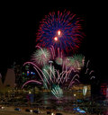 Singapore National Day Fireworks Display Stock Image