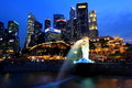 Singapore Night Cityscape Merlion at blue hour Stock Photography