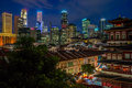 Singapore by night view to the impressive skyline of s central business district over chinatown at the blue hour Royalty Free Stock Photo