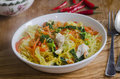 Singapore noodles chicken breast pieces with rice in spicy coconut and chilli sauce Stock Images