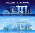 Singapore. Panoramic view of the city at night and day.