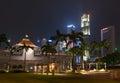 Singapore parliament building illuminated at night Royalty Free Stock Photo