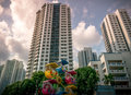 Singapore public residential housing apartment with playground in Bukit Panjang. Royalty Free Stock Photo