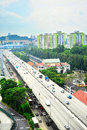 Singapore roads busy traffic on highway in Stock Photos