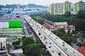 Singapore s highway busy traffic on in Royalty Free Stock Photography