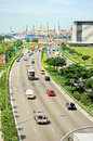 Singapore s highway busy traffic on in Royalty Free Stock Photos