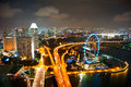 Singapore s night cityscape aerial view of with flyer in the right corner Royalty Free Stock Photography