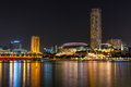 Singapore sep the downtown and esplanade of singapore in night time Stock Photo