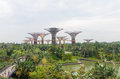 Singapore, Singapore - September 20, 2014: Flower Dome and Super tree at Garden by the bay Royalty Free Stock Photo