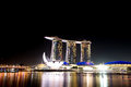 Singapore skyline beautiful at nigh Royalty Free Stock Photos