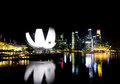 Singapore skyline beautiful at nigh Stock Photos