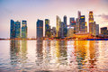 Singapore skyline of at a beautiful twilight Stock Photography