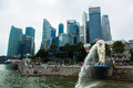 Singapore skyline of business district and marina bay in day Royalty Free Stock Photo