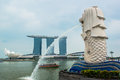 Singapore skyline of business district and marina bay in day Royalty Free Stock Photos