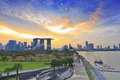 Singapore skyline city when sunset at marina bay Stock Photography