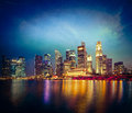 Singapore skyline in evening vintage retro hipster style travel image of and marina bay Royalty Free Stock Photos