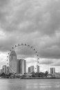 Singapore skyline featuring the Singapore Flyer Royalty Free Stock Photography
