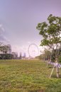 Singapore skyline featuring the Singapore Flyer Stock Image