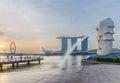 Singapore skyline and Merlion with sunrise Royalty Free Stock Photo