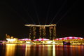 Singapore skyline at night marina bay sands in Stock Images
