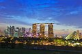 Singapore skyline night scene of at marina bay Royalty Free Stock Image