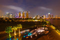 Singapore skyline tracel background of illumintaed in the evening twilight Royalty Free Stock Image