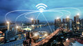 Singapore smart city and wifi communication network, smart city Royalty Free Stock Photo