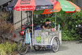 Singapore street vendor a female chinese setting up to sell soft drinks and icecream from a mobile bicycle stall a picture of Royalty Free Stock Photography