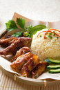 Singapore style hainan chicken rice close up asian food Stock Image