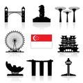 Singapore Travel Icon Royalty Free Stock Photo