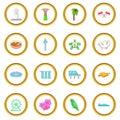 Singapore travel icons circle