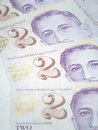 Singapore two dollar bills Royalty Free Stock Photo