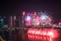 Singapore 50 years National Day dress rehearsal Marina bay fireworks Royalty Free Stock Photo