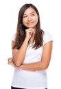 Singaporean woman decide the idea isolated on white background Royalty Free Stock Photography