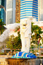 Singaporemerlion singapore republic of singapore march the merlion fountain spouts water in front of the singapore downtown Royalty Free Stock Photos