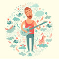 Singer cartoon guitarist playing guitar on a colorful background Royalty Free Stock Photo