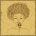 Singer face silhouette with musical notes hair on a vintage background Royalty Free Stock Photo