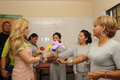 Singer Gloria Trevi receives flowers from inmates Stock Photo