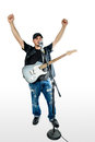 Singer Guitarist on White arms up looking left Royalty Free Stock Photo
