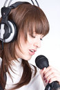 Singer with microphone Stock Photos