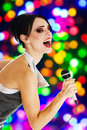 Singer at a night club Royalty Free Stock Photo