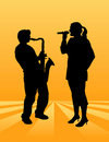 Singer and Saxophone player Royalty Free Stock Images