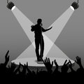 Vector silhouette singer singing in retro style on the stage with his arms viewers Royalty Free Stock Photo