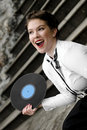 Singer with vinyl record Stock Photography