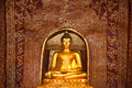 Singha buddha a golden in chiangmai Stock Photos